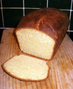 A loaf of Cornish saffron bread, with one slice cut