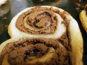 Closeup of a baked nutella palmier, straight out of the oven.