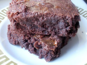 Dulce de leche chocolate brownies on a plate