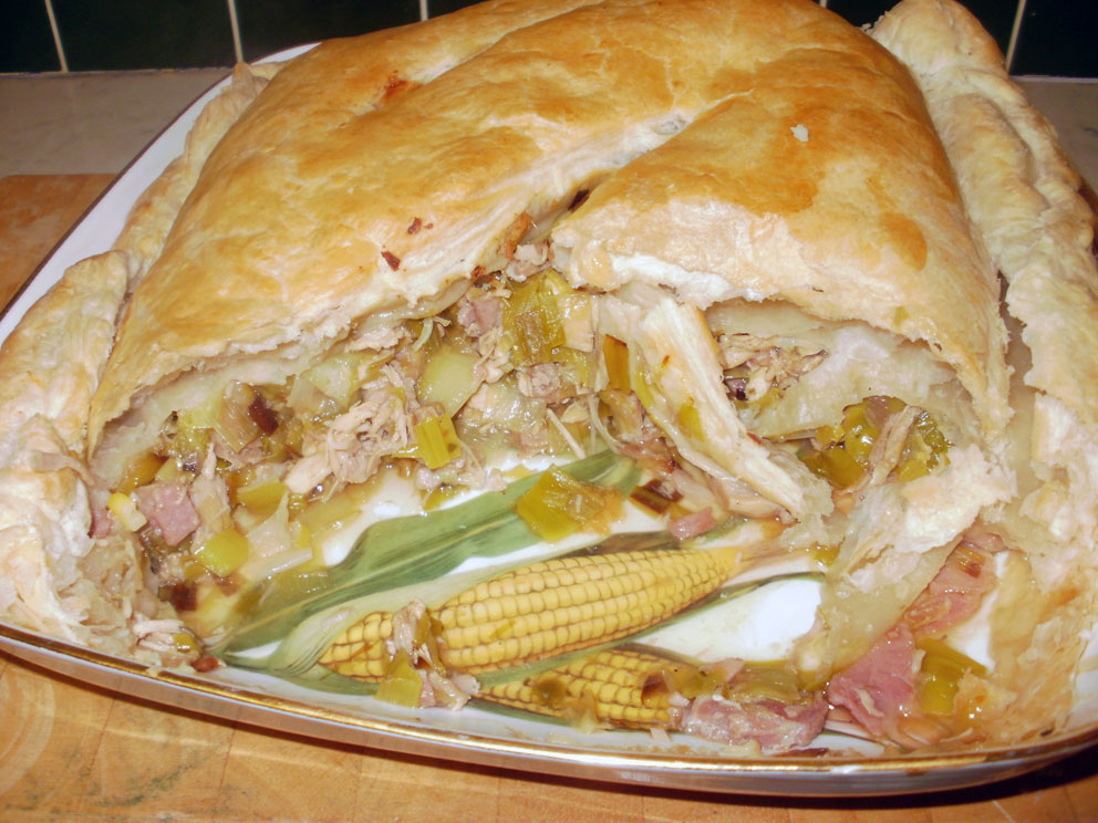 A Dish With Jamie Oliver S Turkey Leek And Ham Pie Cut To Show The