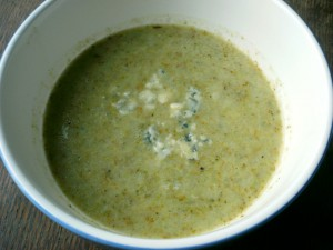 Bowl of blended broccoli and stilton soup