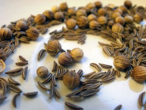 Caraway seeds and coriander seeds on a plate