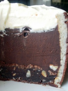 Layers of hazelnut browni, nutella cream and Chantilly cream