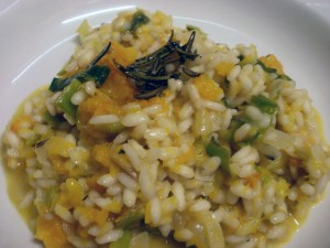 Closeup of butternut squash, leek and blue cheese risotto