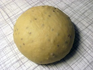 A ball of dough for York mayne bread, being left to prove.