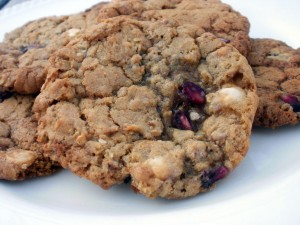 A pomegranate and white chocolate chip cookie