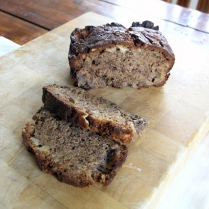 Nutty apple loaf, sliced