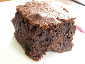 A chocolate brownie on a plate