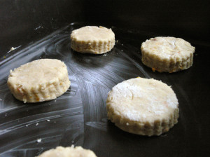Uncooked marmalade scones in a baking tin